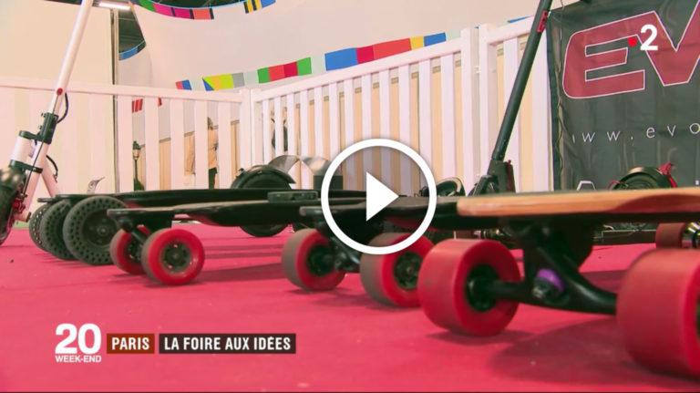Evo-spirit est à la foire de Paris pour présenter et faire tester ses skates électriques, trottinettes électriques et scooters électriques